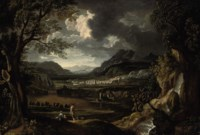 An Italianate river landscape with figures resting beside a waterfall, a town beyond