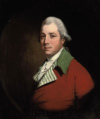 Portrait of Sir Henry Dashwood Peyton, Bt. (d.1789), bust-length, in a red coat with a green collar and striped facings