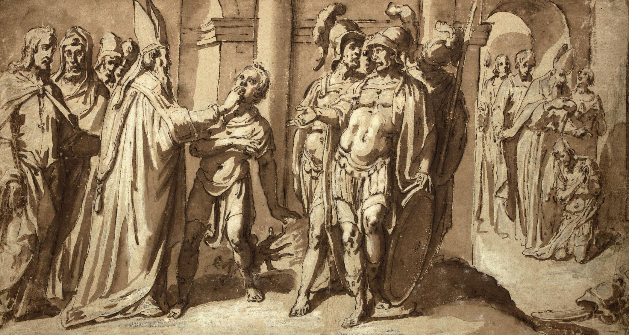 A bishop saint exorcising a youth and baptising a pagan soldier