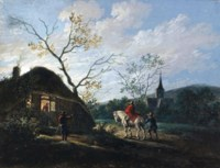 A Dutch winter landscape with a horse-drawn sleigh on a frozen river; and Travellers arriving at an inn at dusk (illustrated)
