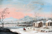 A frozen winter landscape with skaters