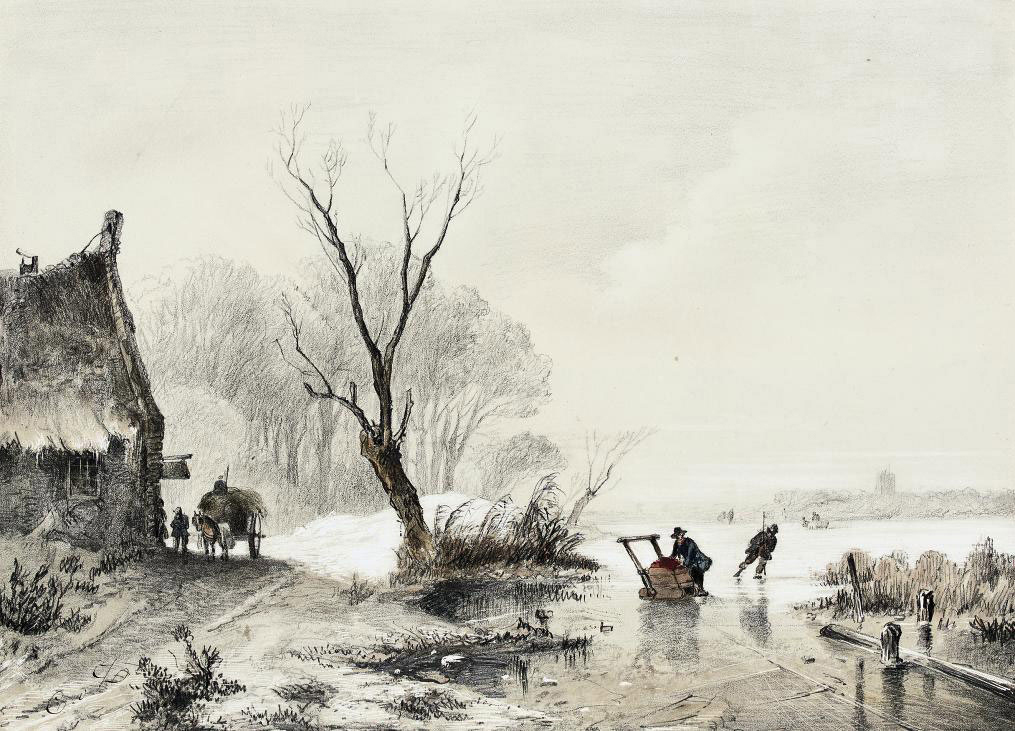 Skaters on a frozen stream beside an inn