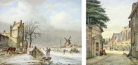 A Dutch winter landscape with skaters on a frozen river; and A Dutch townscape with figures at a market before a cathedral