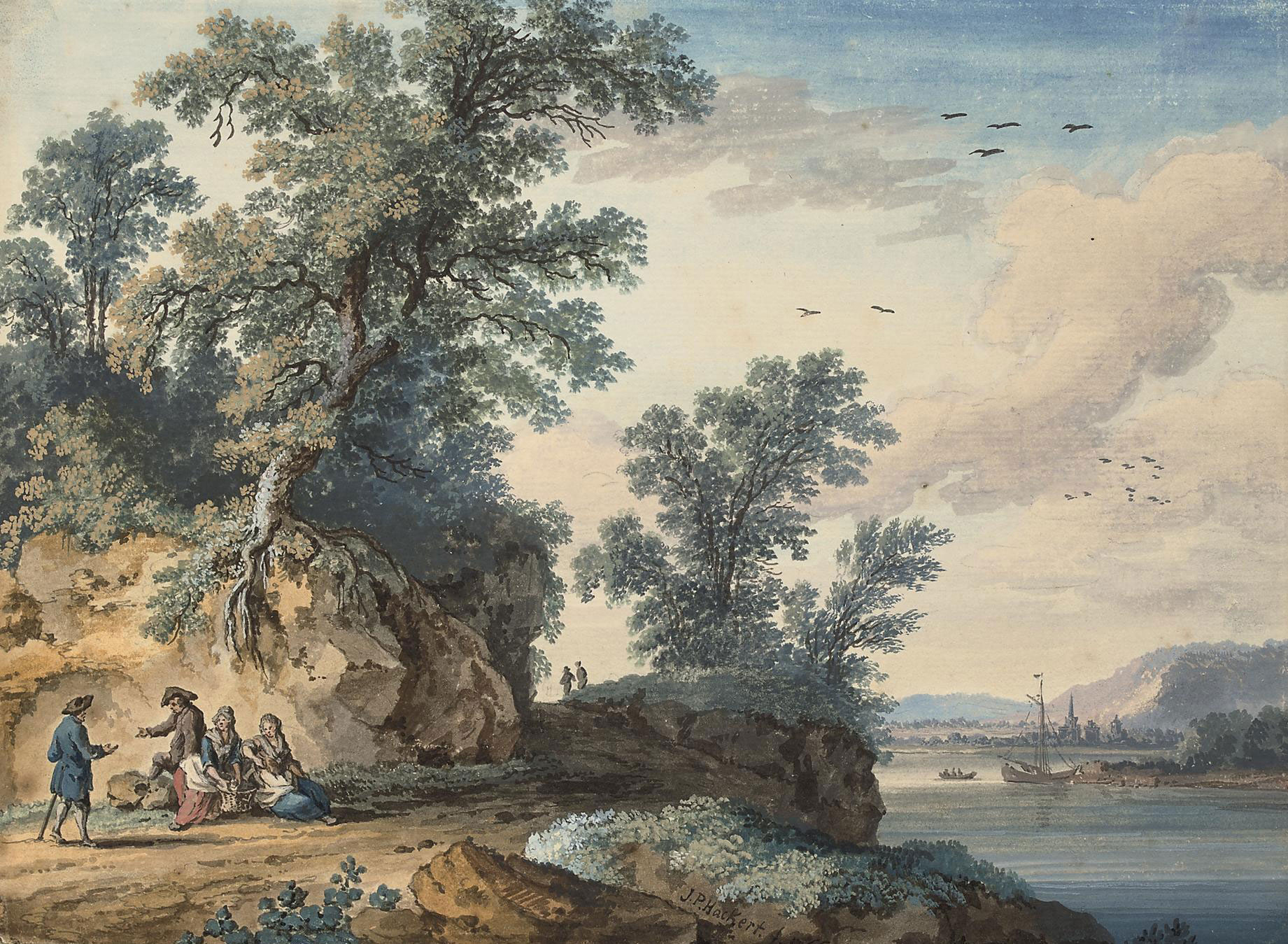 Travellers resting beside a river, with a town, possibly Rouen, beyond