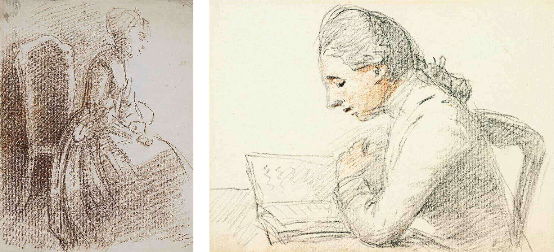 Study of a young academic, half-length, in profile to the left, seated at a desk; and Study of a seated lady (both illustrated)