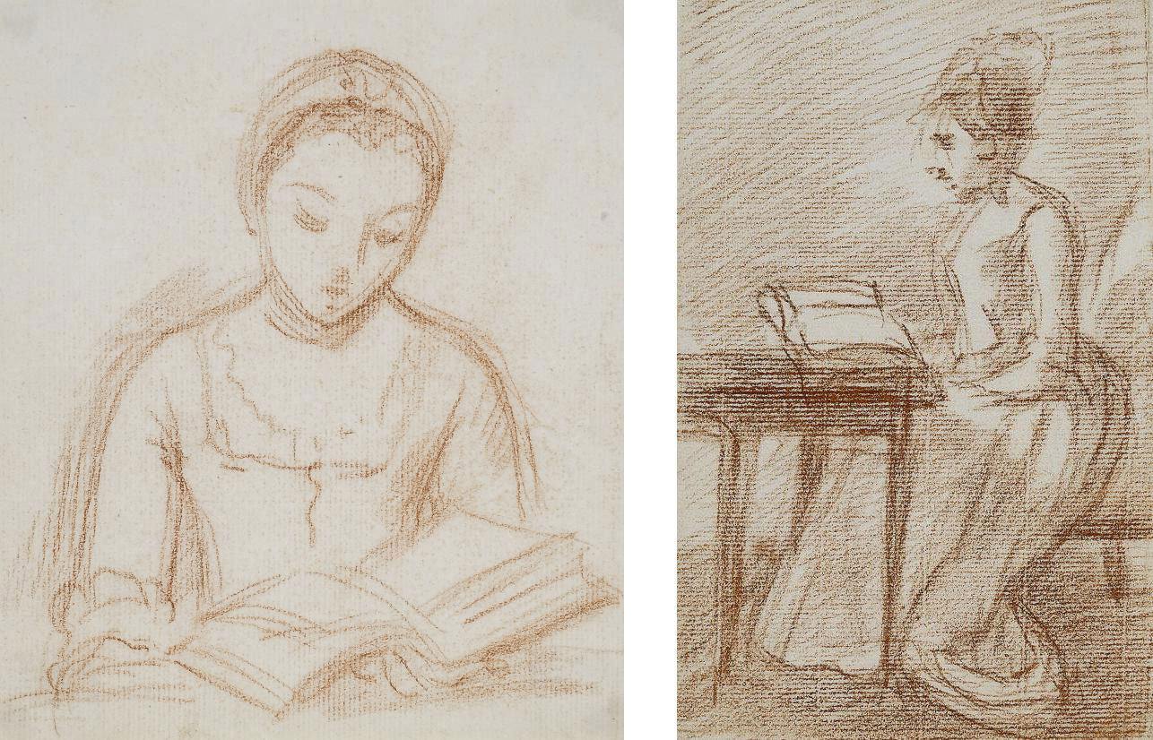 Study of a lady, reading a book, deep in concentration; and Study of a lady, reading, seated at a desk (both illustrated)