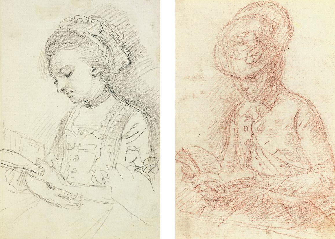 Study of an elegant lady, half-length, reading a book; and Study of a lady, half-length, in a coat and hat, reading a book (both illustrated)