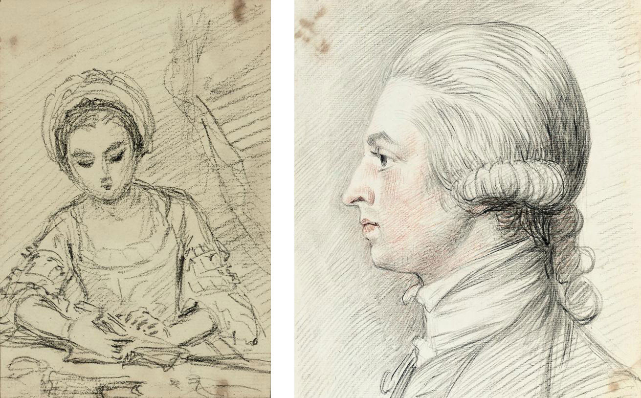 Study of a gentleman, shoulder-length, in profile to the left; and Study of a lady reading a book (both illustrated)