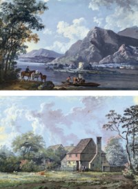 Ferrying animals across the lake at Windermere; and Figures sitting outside a farmstead (both illustrated)