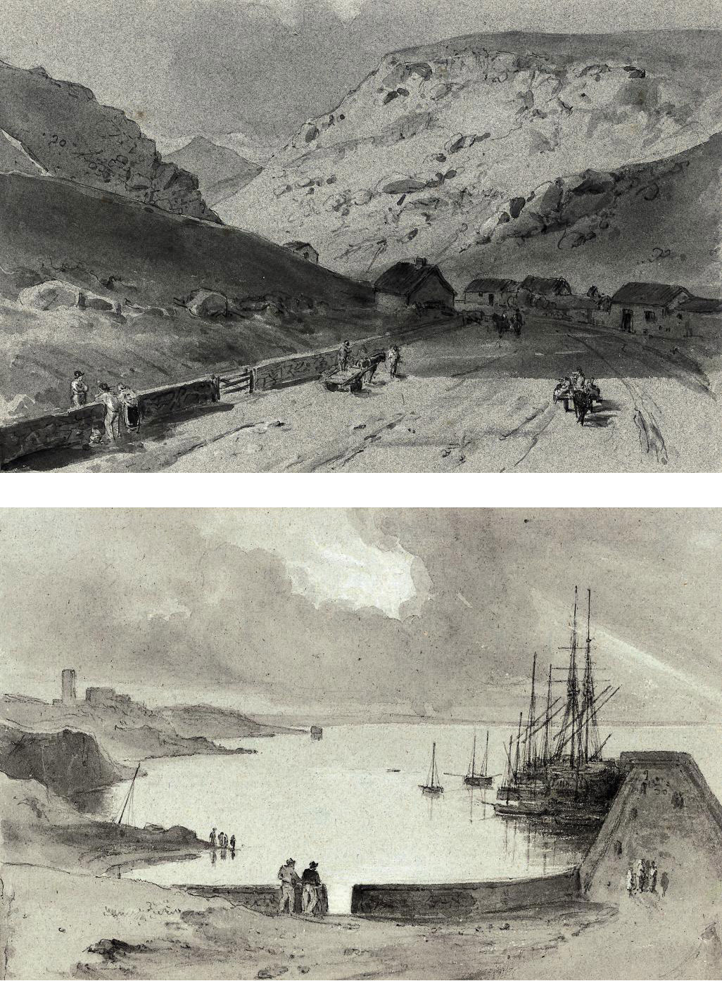 A small collection of views of Ireland including: Dunleary, Dublin Bay (illustrated); Dremash on the Blackwater, County Waterford, (illustrated); and Ross Carbery [sic], County Cork (recto); and A view looking towards the sea (verso)