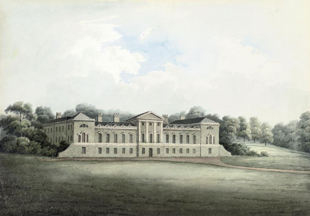 View of Woburn Abbey, Bedfordshire (illustrated); View on the Ouse at Newport Pagnell, Buckinghamshire; The interior of Sadler Castle; and Champhill