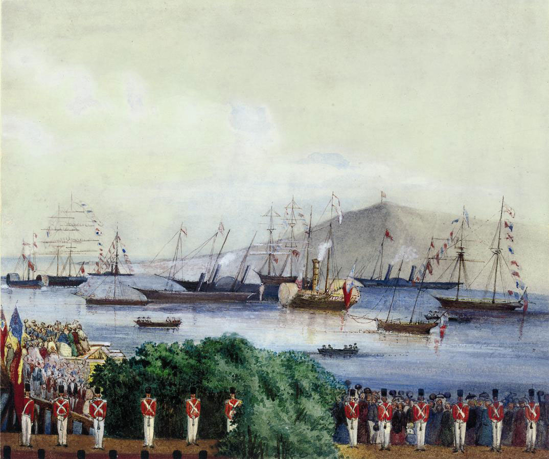 The arrival of the Royal Yacht Victoria and Albert (I) in Alderney, Channel Islands, on 9th August 1854, with Queen Victoria and Prince Albert on board