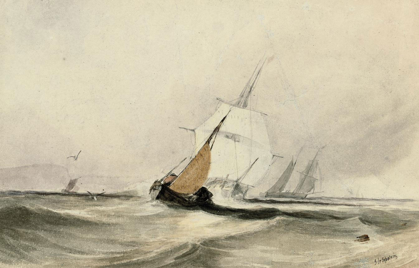Shipping in a stiff breeze; and A frigate drawing close to a fishing boat (illustrated)