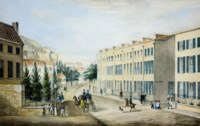 A view of Hemery Row, La Motte Street, St Helier, Jersey, circa 1840