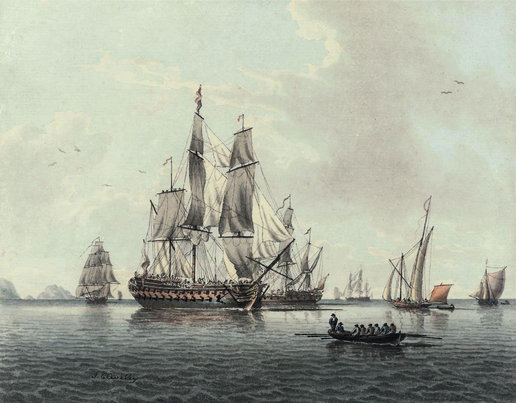 Ships of the fleet and other smaller vessels becalmed off the Needles