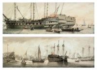 The Honourable East India Company's ships Devonshire, Woodford and Lord Duncan lying on the Thames off Blackwall (illustrated) ; View of Battersea; and View of Penny's Dockyard at Blackwall (illustrated)