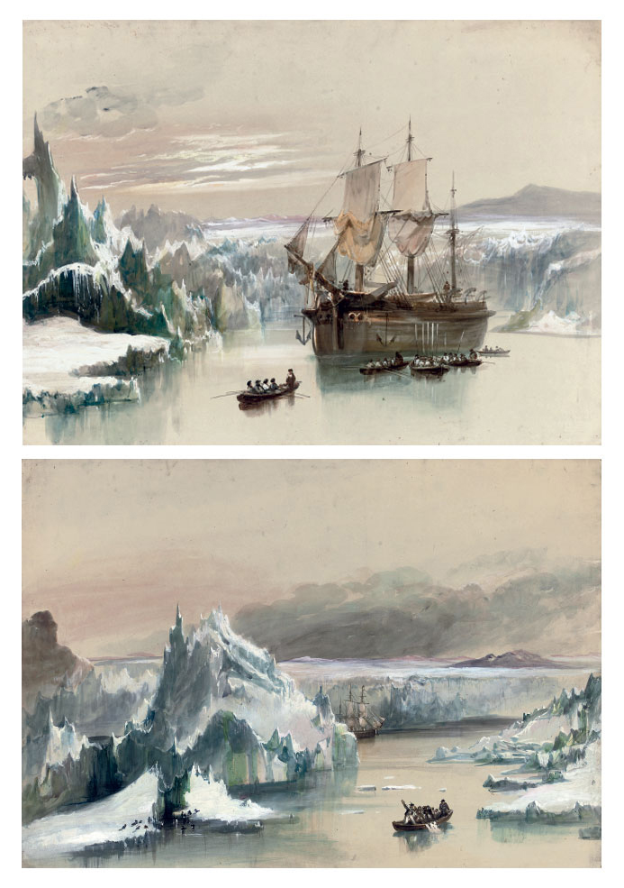 An exploration vessel anchored in Arctic waters with the crew rowing ashore; and The crew defending themselves from an attack by a polar bear whilst rowing ashore (both illustrated)