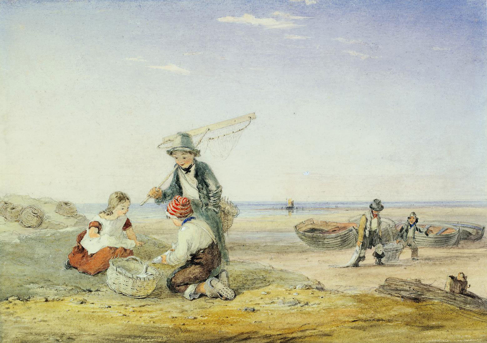 Fisherboys and a young shrimper on the coast at low tide
