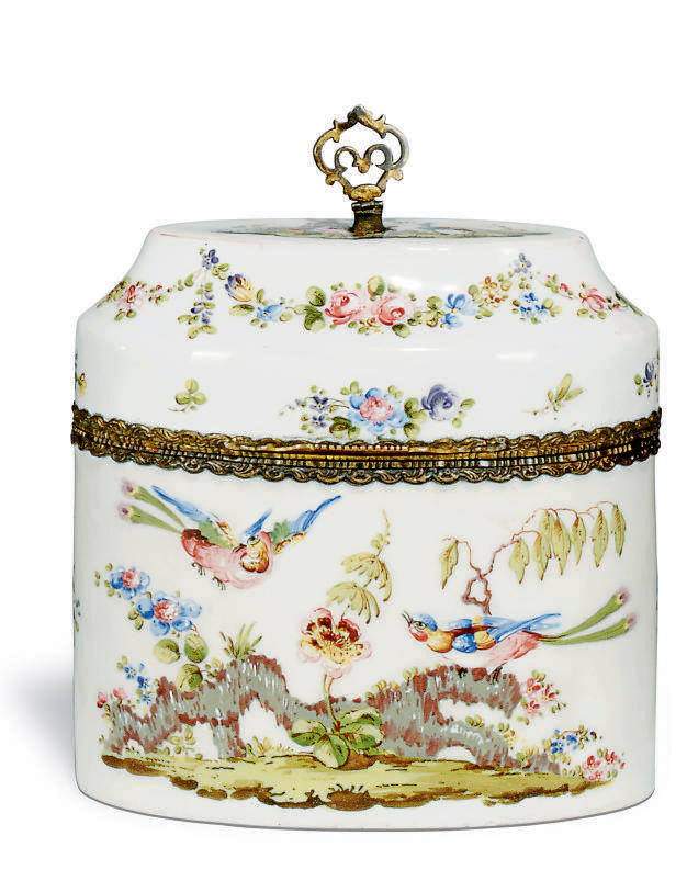 A FRENCH ENAMEL OVAL BOX AND C