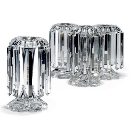 A SET OF FOUR GLASS LUSTRES