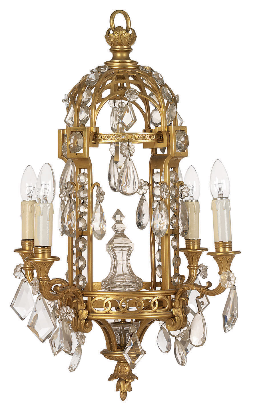 A French Gilt Bronze And Glass Lustre Chandelier Of Louis Xv Style