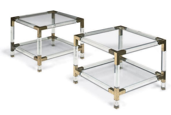 A PAIR OF FRENCH PERSPEX, GLAS