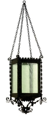 A PAIR OF WROUGHT-IRON HANGING