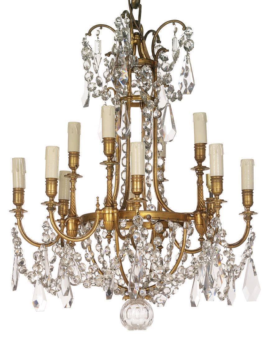 A french gilt bronze and glass lustre chandelier of louis xv style lot 220 aloadofball Gallery