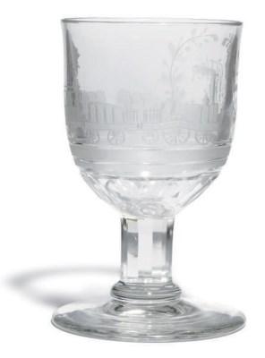 AN ENGRAVED GLASS LOCOMOTIVE G
