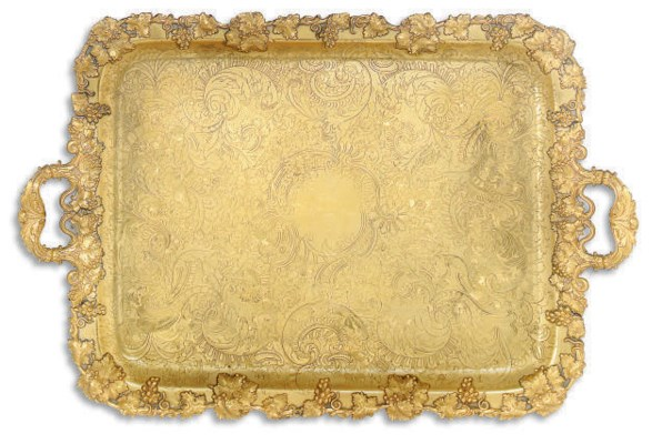 A LARGE FRENCH GILT FUSED PLAT
