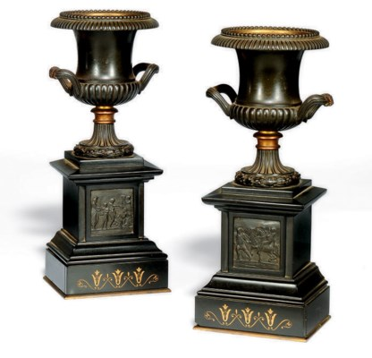 A PAIR OF FRENCH BRONZE AND PA