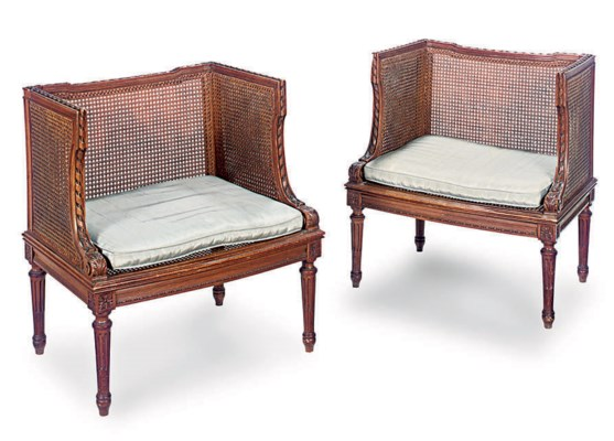 A PAIR OF FRENCH BEECH CANED F
