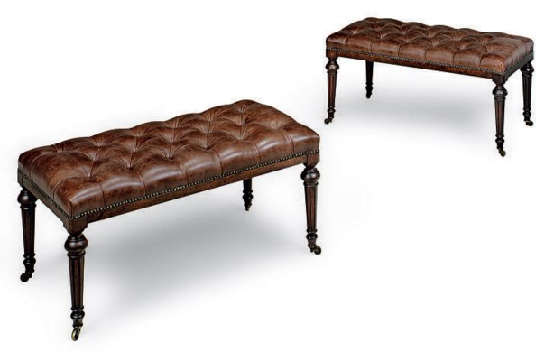 A PAIR OF MAHOGANY NAD LEATHER