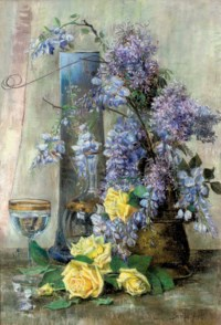 Glycines and yellow roses in a vase