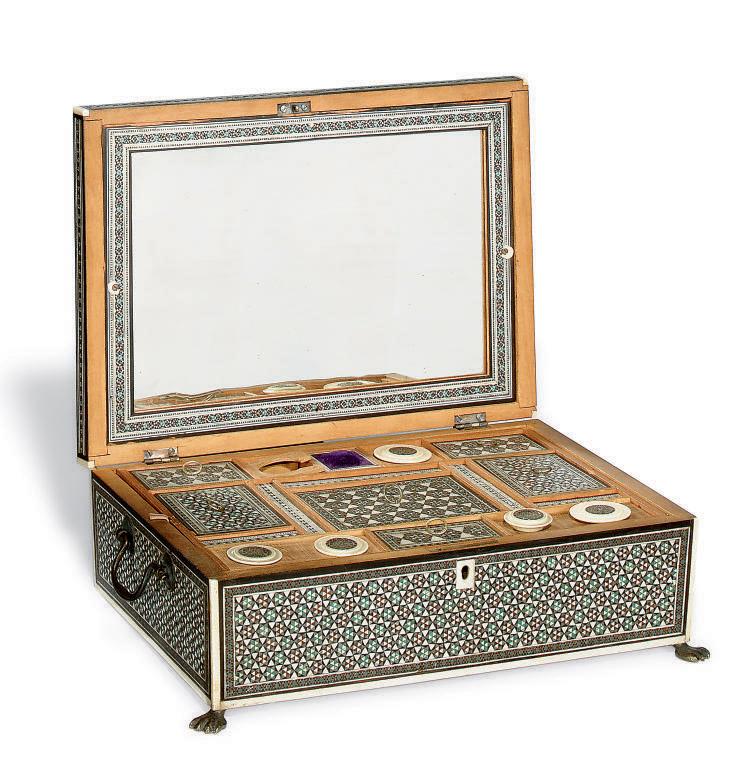 AN INDIAN SADELI INLAID WORK BOX , PROBABLY BOMBAY, MID