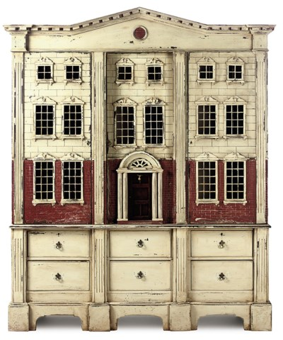 A PAINTED PRESS CUPBOARD IN TH