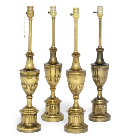 A SET OF FOUR BRASS TABLE LAMP