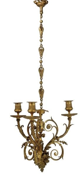 A SMALL FRENCH GILT-BRONZE CHA