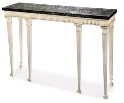 A WHITE-PAINTED CONSOLE TABLE