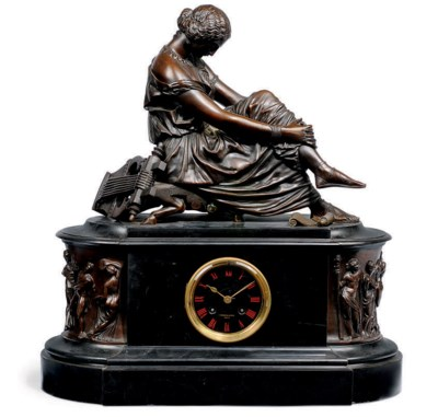 A FRENCH BRONZE AND BLACK-MARB
