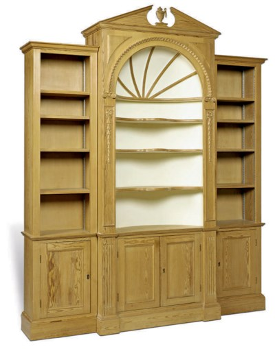 A PINE BREAKFRONT DISPLAY CABI