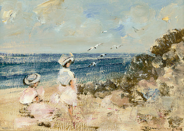 A busy beach; and Elegant ladies enjoying the sun