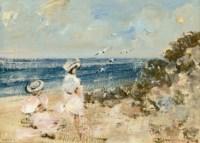 A busy beach; and Elegant ladies enjoying the sun