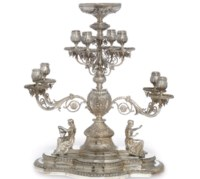 A LATE VICTORIAN SILVER EIGHT-BRANCH CANDELABRUM CENTREPIECE