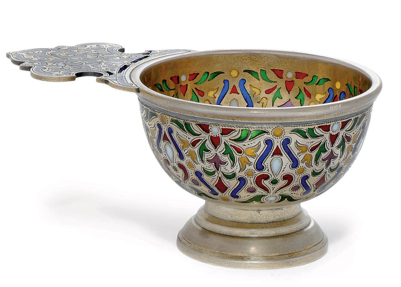 A SMALL RUSSIAN SILVER-GILT AND PLIQUE-A-JOUR ENAMEL CHARKA