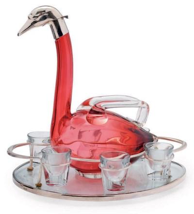 AN AUSTRIAN NOVELTY GLASS LIQU