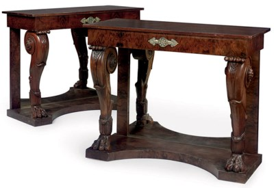 A PAIR OF CARVED MAHOGANY, WAL