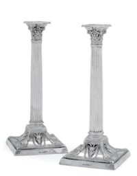 A PAIR OF LATE VICTORIAN SILVER CORINTHIAN COLUMN CANDELSTICKS
