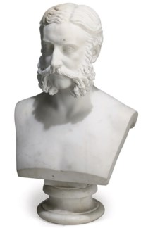 A VICTORIAN MARBLE BUST BELIEVED TO BE LORD CARDIGAN