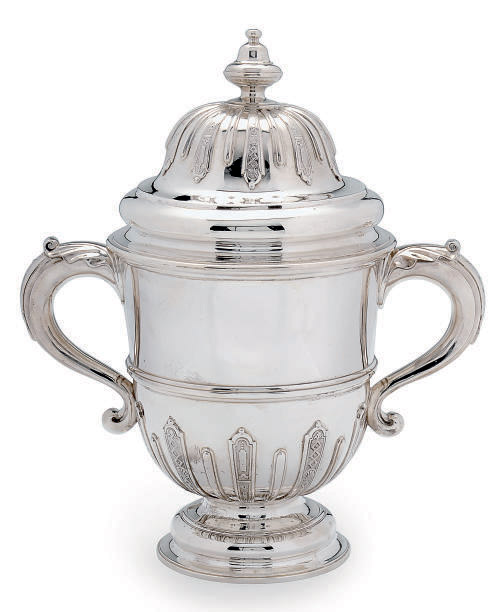 A VICTORIAN SILVER TWO-HANDLED CUP AND COVER IN THE GEORGE I STYLE